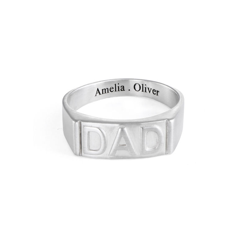 Dad Ring with Backside Engraving in Sterling Silver - 1