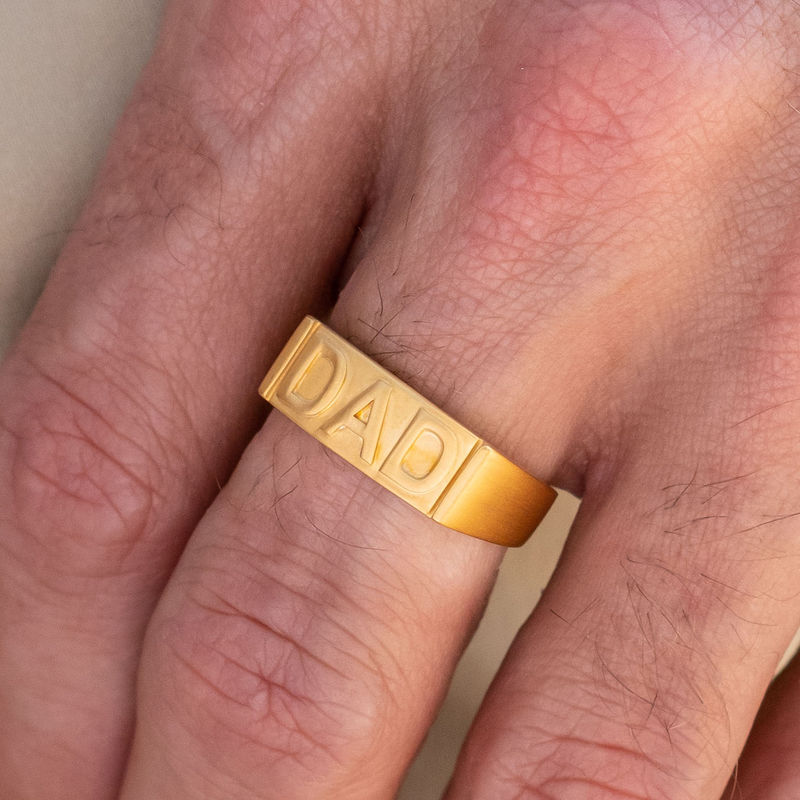 Dad Ring with Backside Engraving in 18K Gold Plating - 3