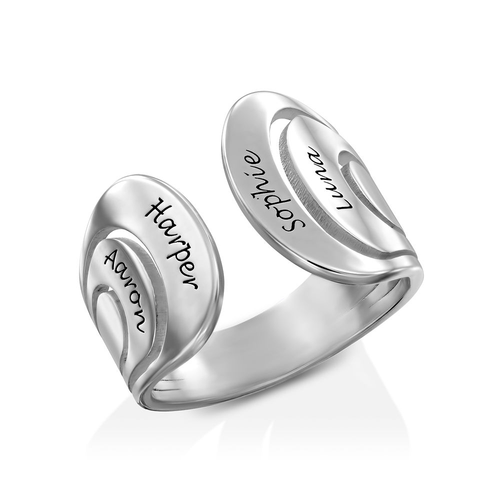 Hug Ring with Kids Names in Sterling Silver