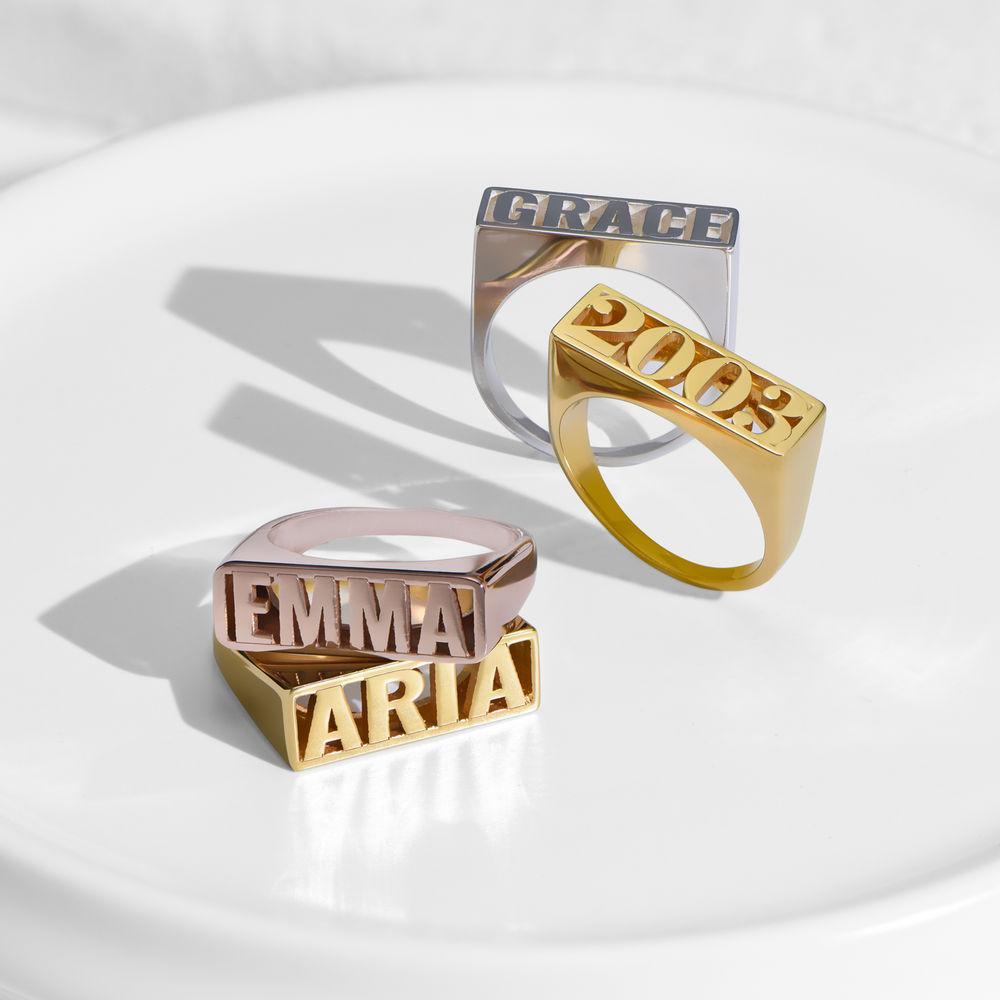 Block Name Ring in Gold Plating - 2
