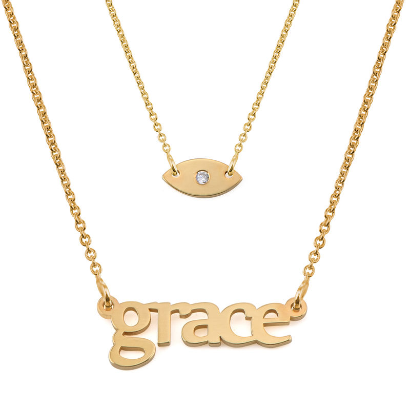 Personalized Name Necklace and Evil Eye Necklace Set in Gold Plating