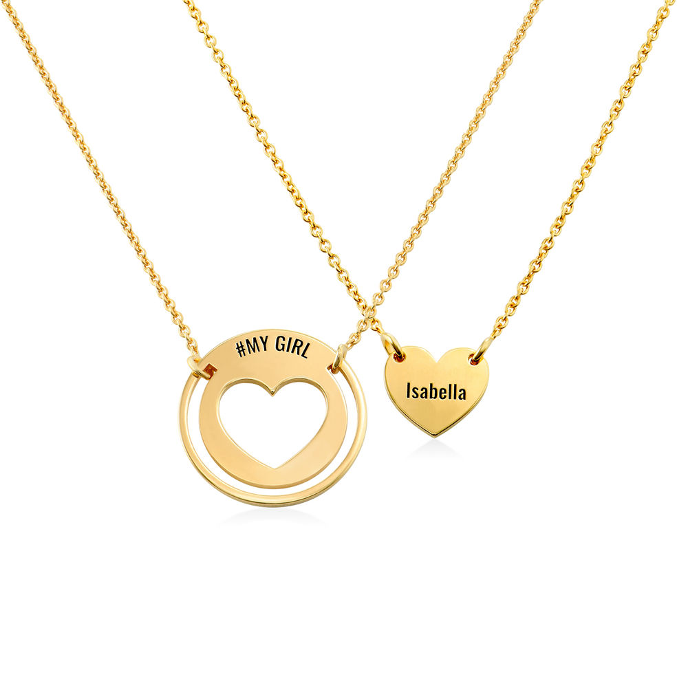 Mother Daughter Heart Necklace Set in Gold Vermeil
