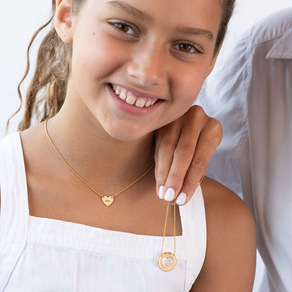 Mother Daughter Heart Necklace Set in Gold Vermeil - 1