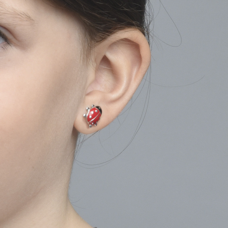 Ladybug Earrings for Kids - 1