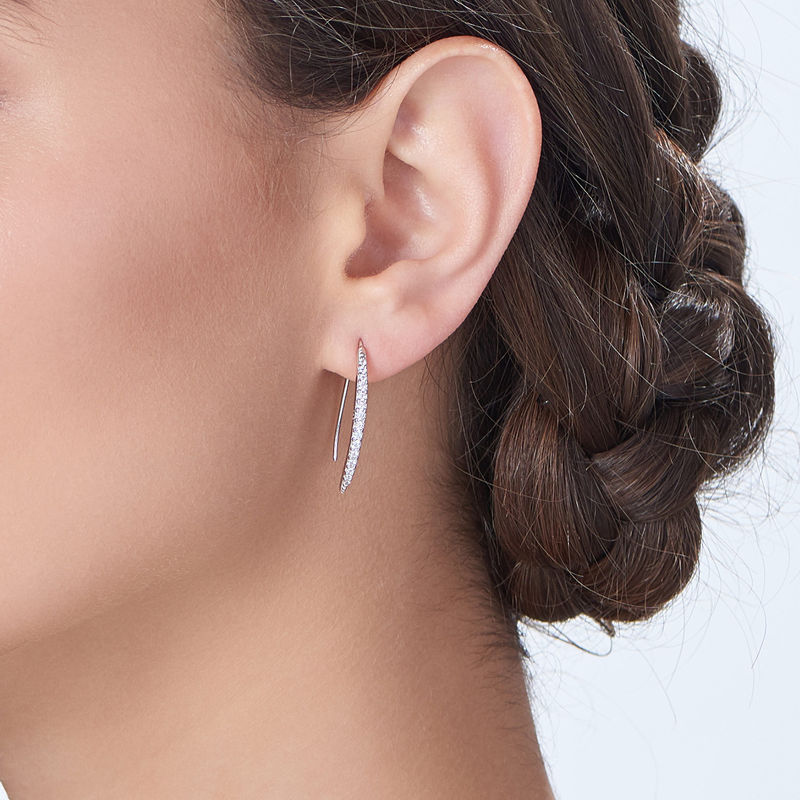 Curved Bar Earrings with Cubic Zirconia in Sterling Silver - 1