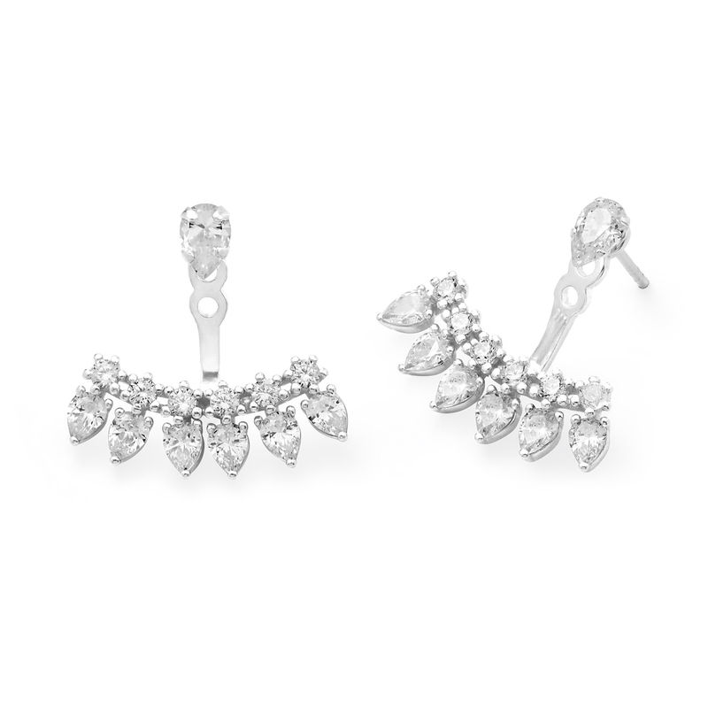 Ear Jacket Earrings with Cubic Zirconia in Sterling Silver