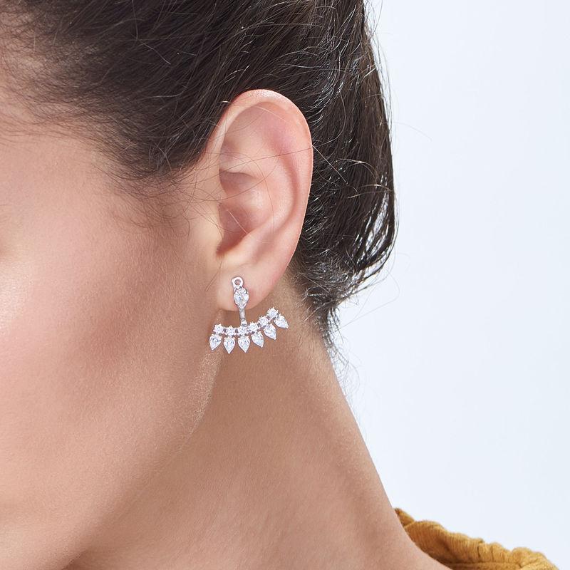 Ear Jacket Earrings with Cubic Zirconia in Sterling Silver - 1