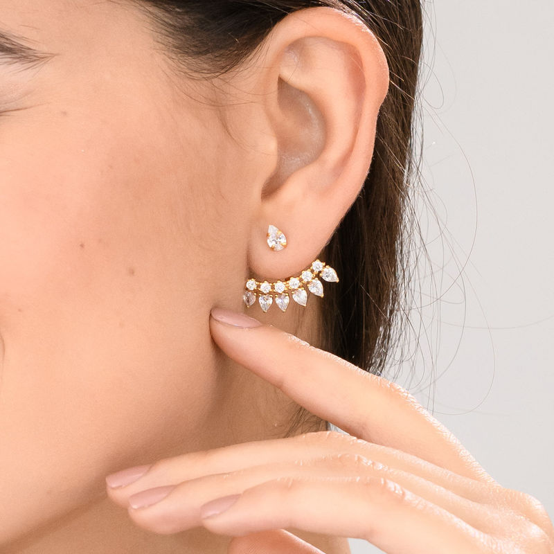 Ear Jacket Eearrings with Cubic Zirconia in Gold Plated - 1