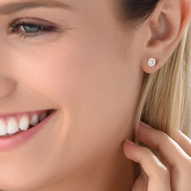 10k Solid Gold Stud Earrings with Cubic Zirconia - 1