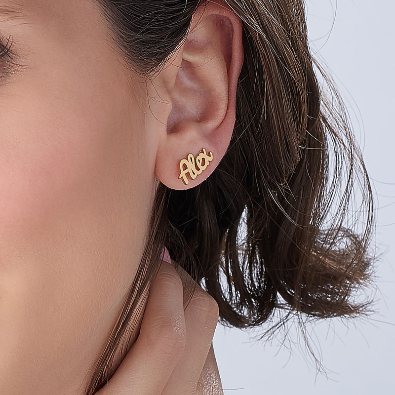 Personalized Ear Climbers with 18K Gold Plating - 3