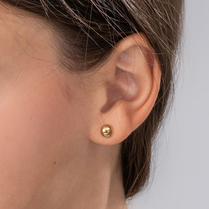 Medium 10K Gold Round Stud Earrings - 2