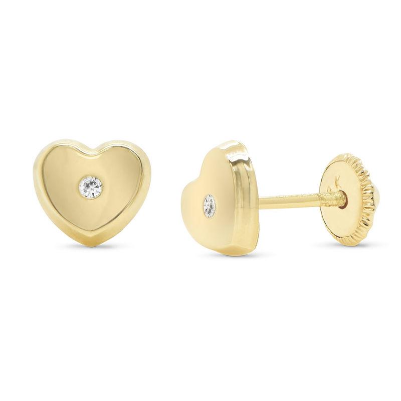 10K Gold Heart Stud Earrings