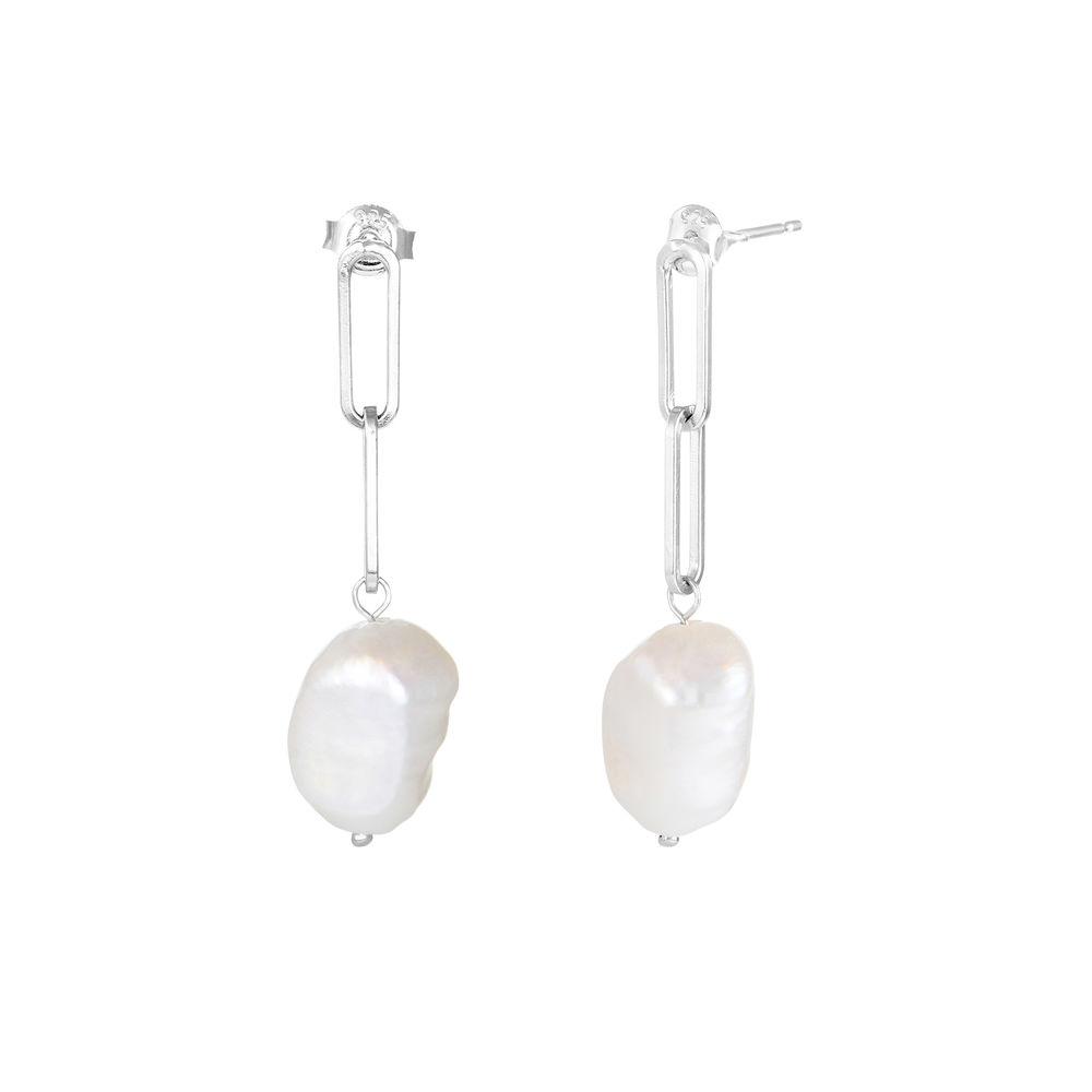 Baroque Pearl Links Earrings in Sterling Silver
