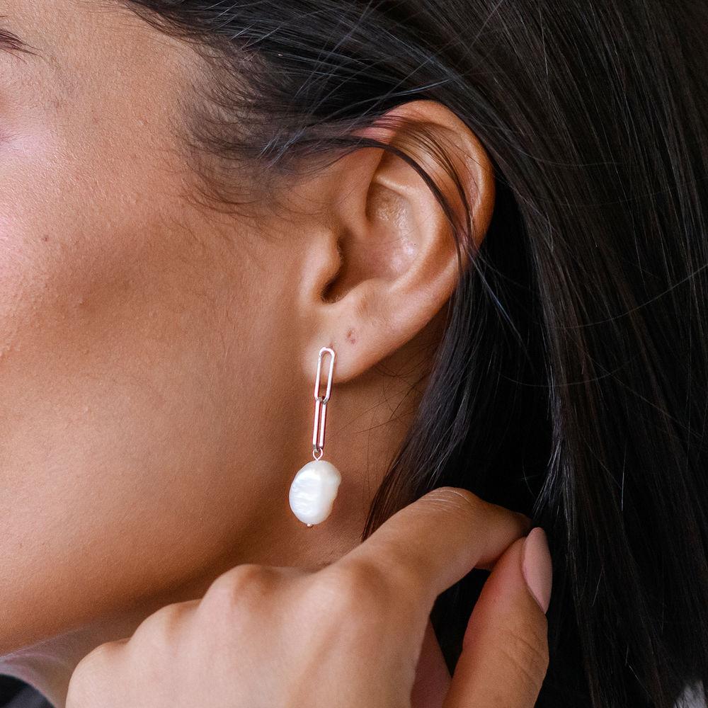 Baroque Pearl Links Earrings in Sterling Silver - 1