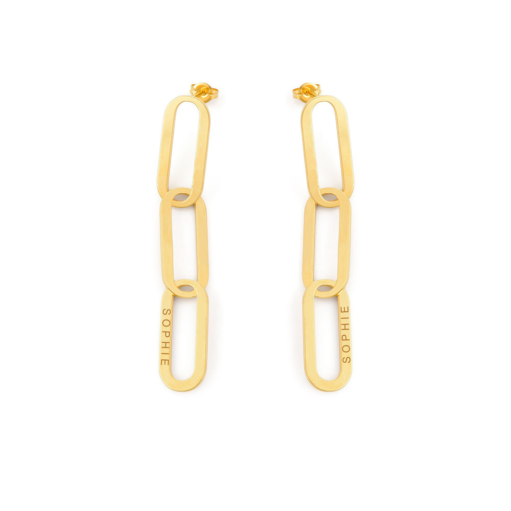 Aria Link Chain Earrings in 18K Gold Plating