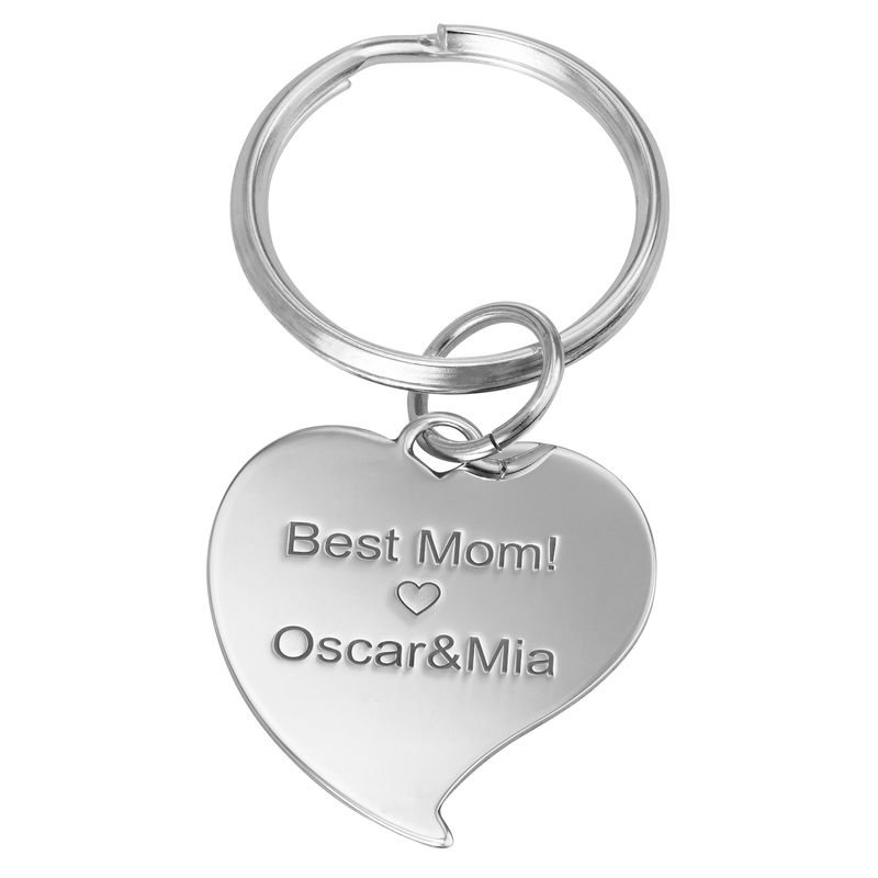 Engraved Photo Keychain - Heart Shaped - 1