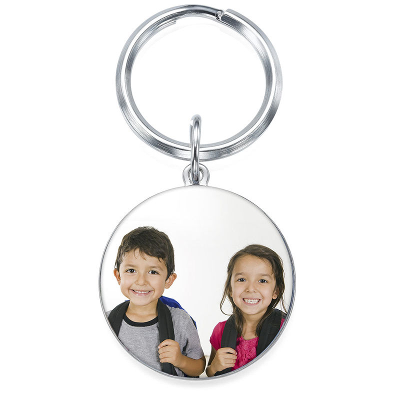 Engraved Round Photo Keychain in Sterling Silver