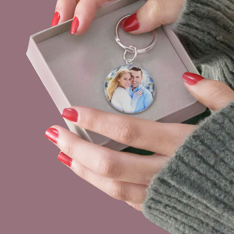 Engraved Round Photo Keychain in Sterling Silver - 5