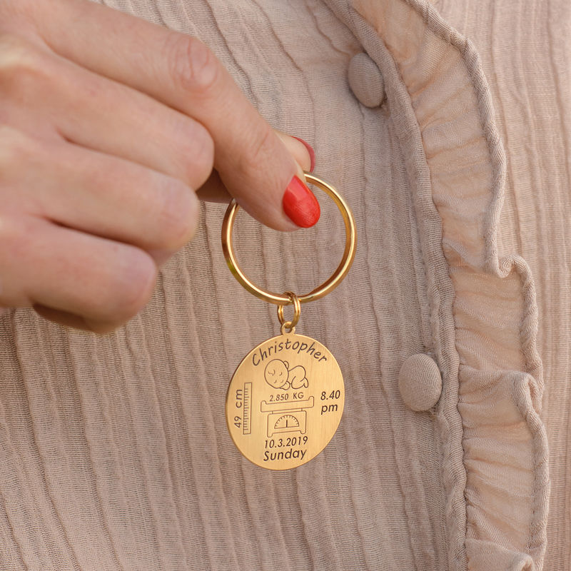 Personalized Engraved Baby Birth Keychain in 18K Gold Plating - 3