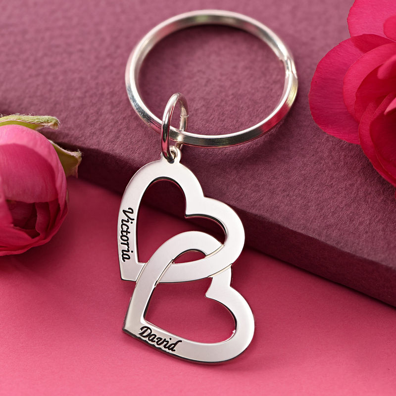 Sterling Silver Heart in Heart Keychain - 2