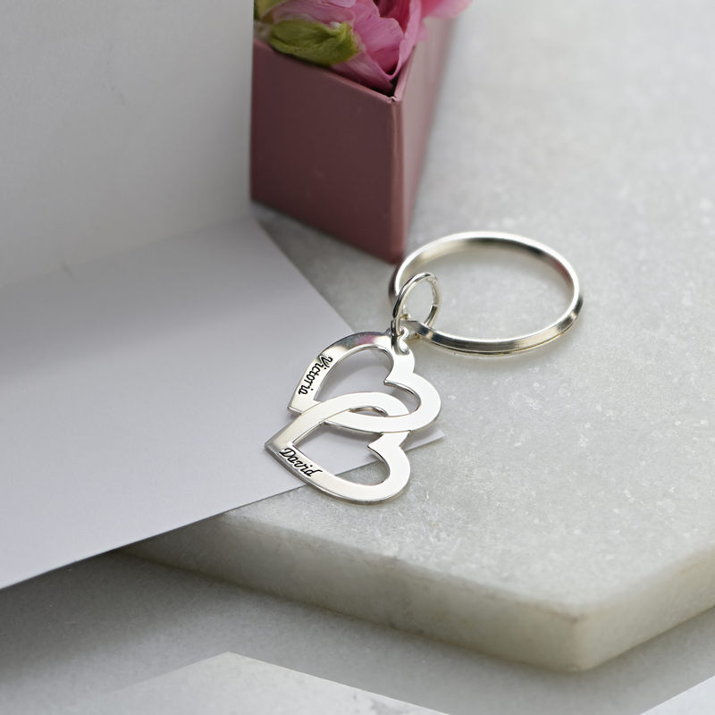 Sterling Silver Heart in Heart Keychain - 3