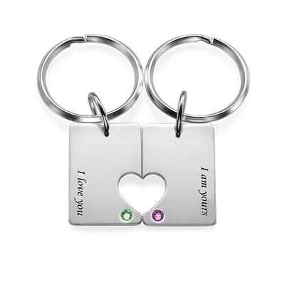 Couples Dog Tag Keychain Set