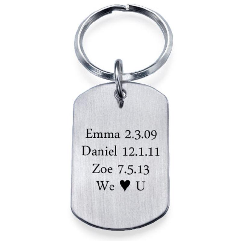 Men Women Engraved Forever Love Keyring Keychain Stainless Steel Zircon Key Ring