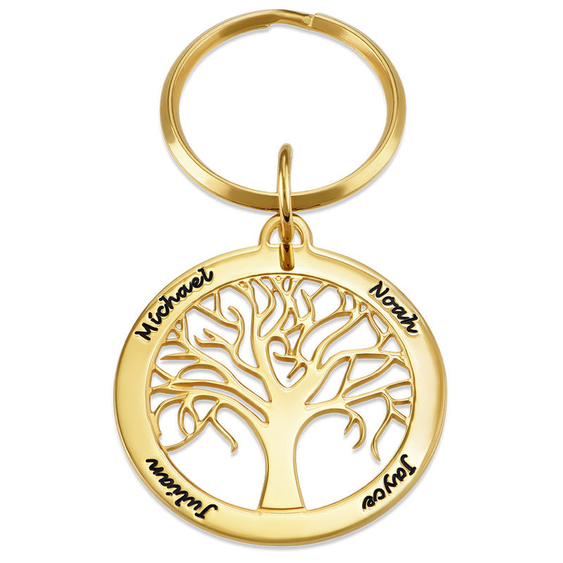 Personalized Family Tree Keychain in Gold Plating