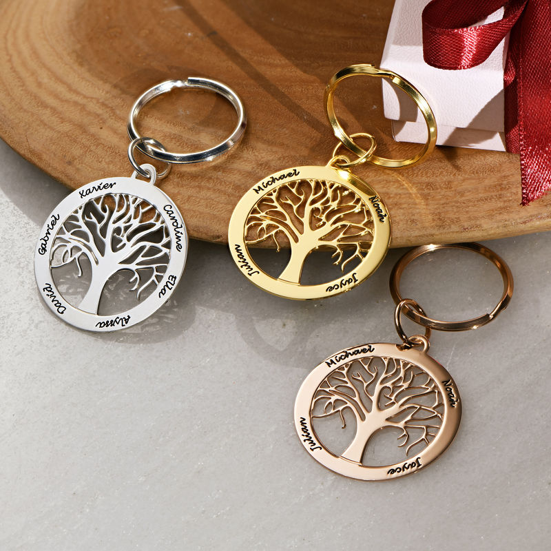 Personalized Family Tree Keychain in Rose Gold Plating - 1