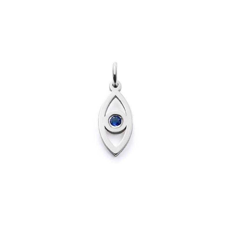 Linda Vertical Evil Eye Pendant in Sterling Silver