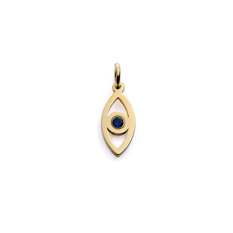 Linda Vertical Evil Eye Pendant in Gold Vermeil