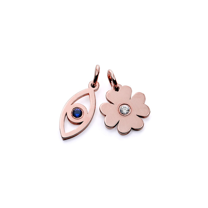 Linda Evil Eye and Clover Pendant in Rose Gold Plating