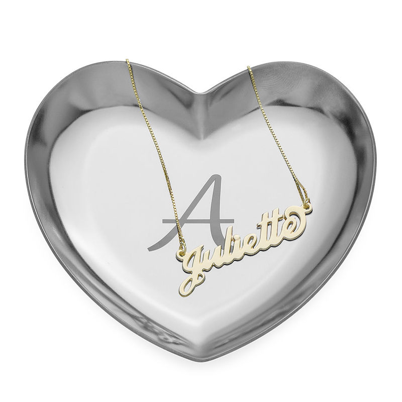 Personalized Heart Jewelry Tray in Silver Color - 2