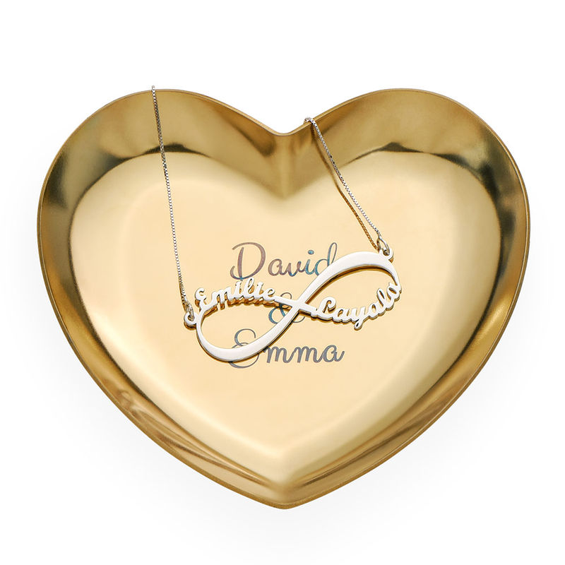 Personalized Heart Jewelry Tray in Gold Color - 2