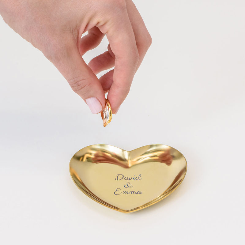 Personalized Heart Jewelry Tray in Gold Color - 3