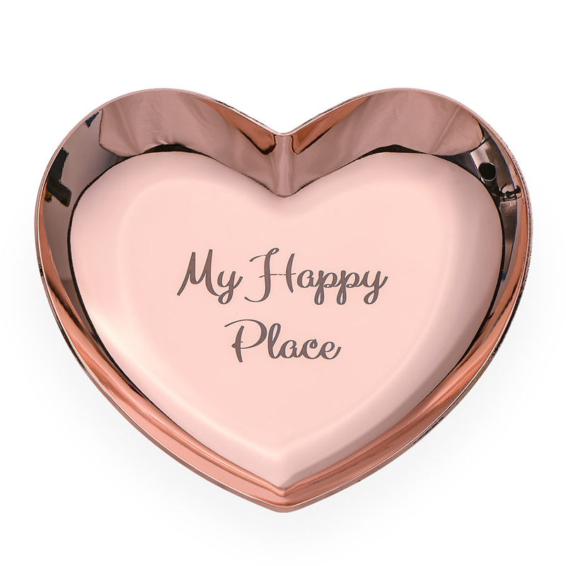 Personalized Heart Jewelry Tray in Rose Gold Color