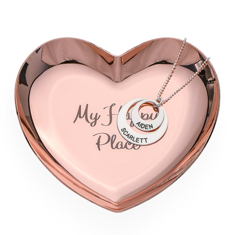 Personalized Heart Jewelry Tray in Rose Gold Color - 2