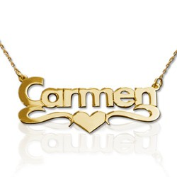 14k Gold Print Heart Name Necklace product photo