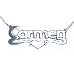 14k White Gold Print Heart Name Necklace product photo