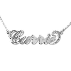 Double Thickness 14k White Gold Carrie-Style Name Necklace product photo