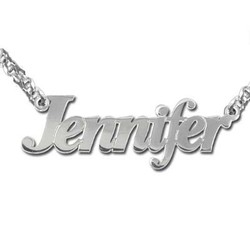 Personalized Double Thickness Silver Name Necklace product photo
