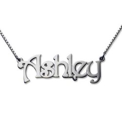 14k White Gold Name Necklace product photo
