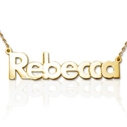 14k Gold Bold Print Name Necklace product photo