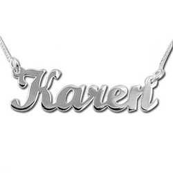 14k Solid White Gold Script Name Necklace product photo