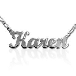 Double Thickness Sterling Silver Script Style Name Necklace product photo
