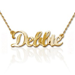 Double Thickness 14k Gold Script Style Name Necklace product photo