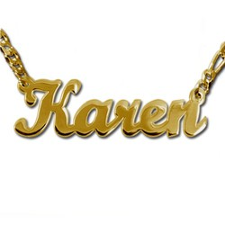 Double Thick 18k Gold-Plated Silver Script Style Name Necklace product photo