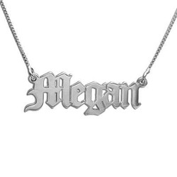 14k White Gold Old Englsih Style Name necklace product photo