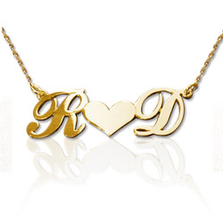 Personalized 14k Gold Couples Heart Necklace product photo