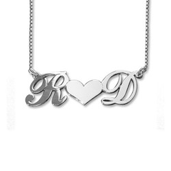 Personalized Silver Couples Heart Name Jewelry product photo